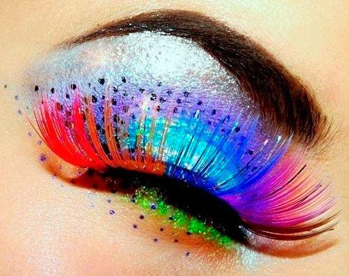 цветное декорирование ресниц